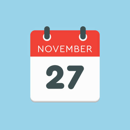 Vector icon calendar day - 27 November. Days of the year vector illustration flat style. Date day of month Sunday, Monday, Tuesday, Wednesday, Thursday, Friday, Saturday. Autumn holidays in November.