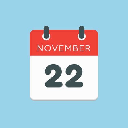 Vector icon calendar day - 22 November. Days of the year vector illustration flat style. Date day of month Sunday, Monday, Tuesday, Wednesday, Thursday, Friday, Saturday. Autumn holidays in November. Vettoriali