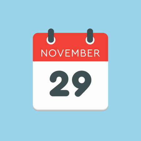 Vector icon calendar day - 29 November. Days of the year vector illustration flat style. Date day of month Sunday, Monday, Tuesday, Wednesday, Thursday, Friday, Saturday. Autumn holidays in November. Vettoriali
