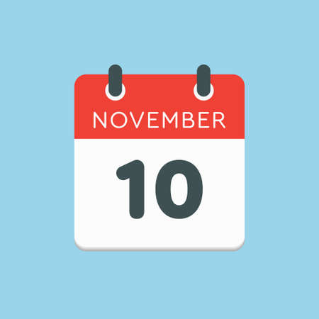 Vector icon calendar day - 10 November. Days of the year vector illustration flat style. Date day of month Sunday, Monday, Tuesday, Wednesday, Thursday, Friday, Saturday. Autumn holidays in November.