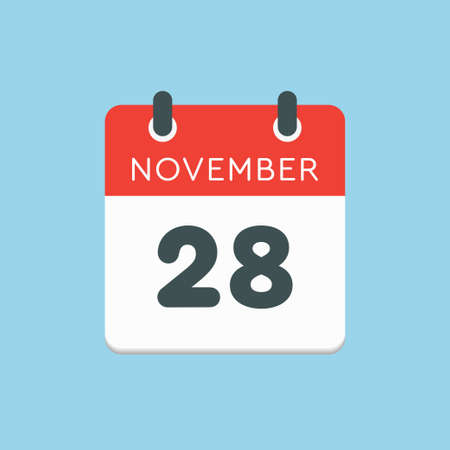 Vector icon calendar day - 28 November. Days of the year vector illustration flat style. Date day of month Sunday, Monday, Tuesday, Wednesday, Thursday, Friday, Saturday. Autumn holidays in November.