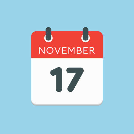 Vector icon calendar day - 17 November. Days of the year vector illustration flat style. Date day of month Sunday, Monday, Tuesday, Wednesday, Thursday, Friday, Saturday. Autumn holidays in November.