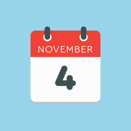 Vector icon calendar day - 4 November. Days of the year vector illustration flat style. Date day of month Sunday, Monday, Tuesday, Wednesday, Thursday, Friday, Saturday. Autumn holidays in November.