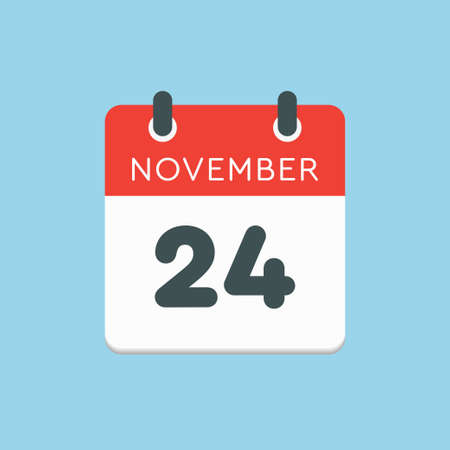 Vector icon calendar day - 24 November. Days of the year vector illustration flat style. Date day of month Sunday, Monday, Tuesday, Wednesday, Thursday, Friday, Saturday. Autumn holidays in November.