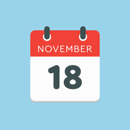 Vector icon calendar day - 18 November. Days of the year vector illustration flat style. Date day of month Sunday, Monday, Tuesday, Wednesday, Thursday, Friday, Saturday. Autumn holidays in November.