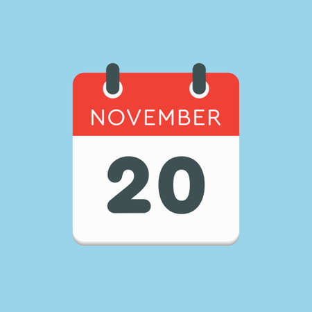 Vector icon calendar day - 20 November. Days of the year vector illustration flat style. Date day of month Sunday, Monday, Tuesday, Wednesday, Thursday, Friday, Saturday. Autumn holidays in November.