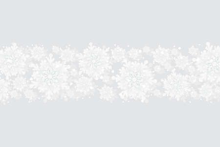 Merry Christmas and New Year celebration silver background with shining snow and big white snowflakes. Winter vector background, banner, poster, card, frame.