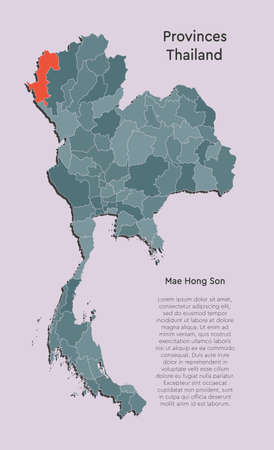 Detailed Thailand country border map isolated on background. Mae Hong Son province template travel trip pattern, report, infographic, backdrop. Asia nation business silhouette sign concept. Illustration