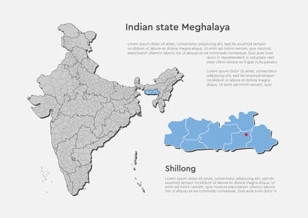 Detailed vector India country outline border map isolated on background. Meghalaya state, region, area, province, territory, department for your report, infographic, backdrop, business concept Ilustração