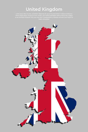 Detailed vector map country The United Kingdom made flag isolated on background. The Great Britain template, report, infographic, backdrop. Europe England nation pattern or silhouette sign concept. UK islands.