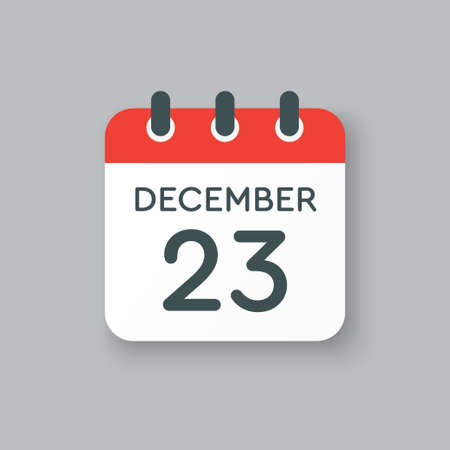 Vector icon calendar day - 23 December. 23th days of the month, vector illustration flat style. Date day of week Sunday, Monday, Tuesday, Wednesday, Thursday, Friday, Saturday. Winter holidays in December.
