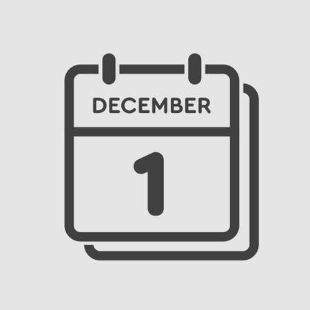 Vector icon calendar day - 1 December. 1th days of the month, vector illustration style. Date day of week Sunday, Monday, Tuesday, Wednesday, Thursday, Friday, Saturday. Winter holidays in December.