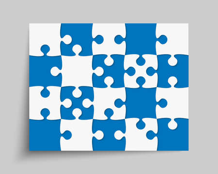 Background made with 20 pieces puzzle. Vector rectangle banner jigsaw template with particles, details, tiles, parts. Frame pattern for education and presentation with element piece puzzle. Ilustración de vector