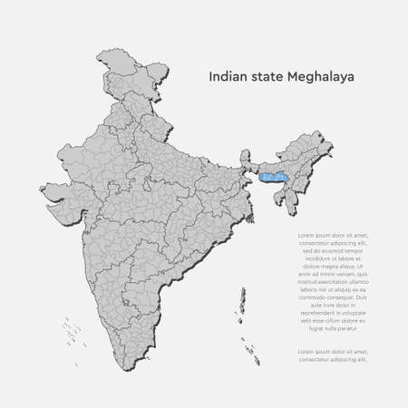 Detailed vector India country outline border map isolated on background. Meghalaya state, region, area, province, territory, department for your report, infographic, backdrop, business concept Illustration