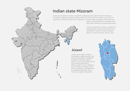 Detailed vector India country outline border map isolated on background. Mizoram state, region, area, province, territory, department for your report, infographic, backdrop, business concept