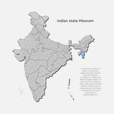 Detailed vector India country outline border map isolated on background. Bhubaneshwar state, region, area, province, territory, department for your report, infographic, backdrop, business concept