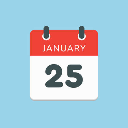 Icon calendar day - 25 January. 25th days of the month,  illustration flat style.