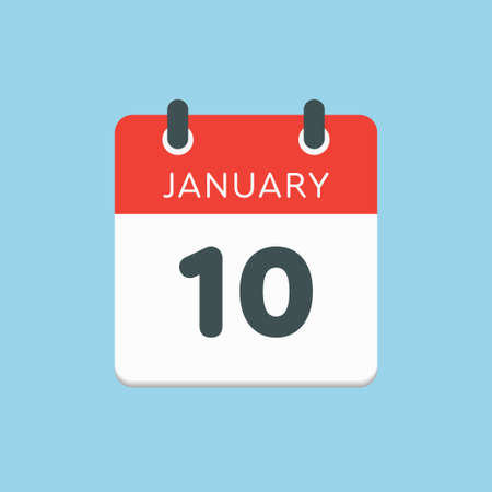 Icon calendar day - 10 January. 10th days of the month,  illustration flat style.