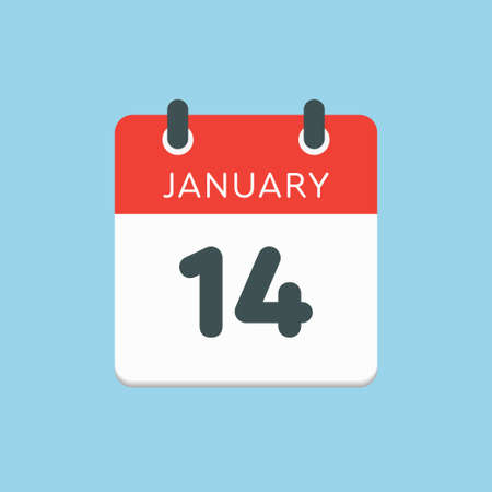 Icon calendar day - 14 January. 14th days of the month,  illustration flat style.