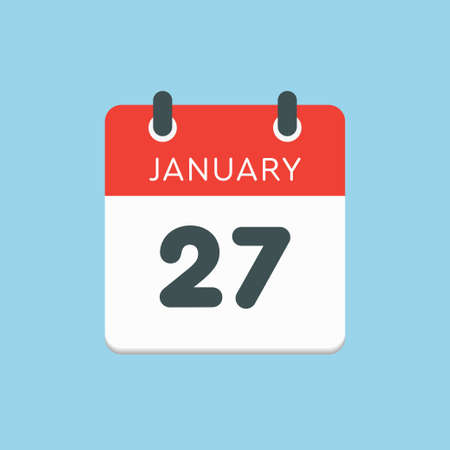 Icon calendar day - 27 January. 27th days of the month,  illustration flat style.