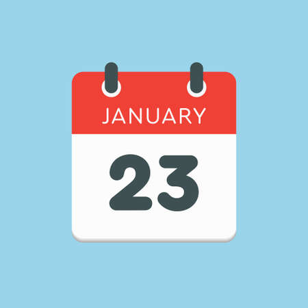 Icon calendar day - 23 January. 23rd days of the month,  illustration flat style.