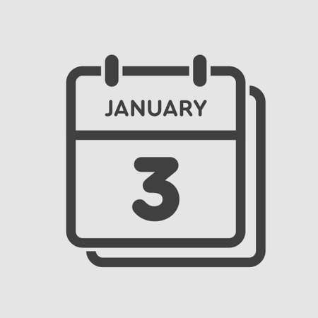 Vector icon calendar day - 3 January. 3th days of the month, vector illustration flat style.
