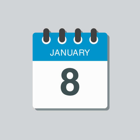 Vector icon calendar day - 8 January. 8th days of the month, vector illustration flat style.