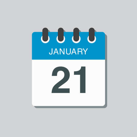 Vector icon calendar day - 21 January. 21th days of the month, vector illustration flat style.