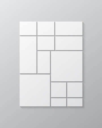 Templates collage thirteen frames, photos, parts, pictures, illustrations. Vector frame presentation. Creative theme with 13 part simple square border layout. Modern minimal vertical moodboard mockup.