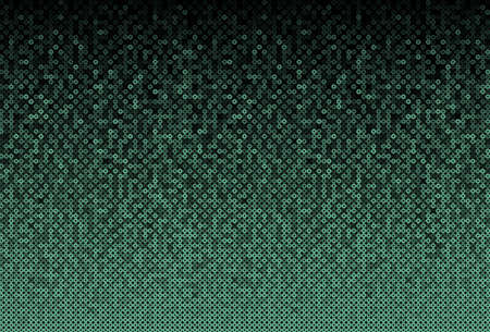Green sequins, glitters, sparkles, paillettes, mosaic background template. Abstract luxury halftone vector creative backdrop. Glitter rounds gradient trendy. Vibrant green shiny dots glitter texture.