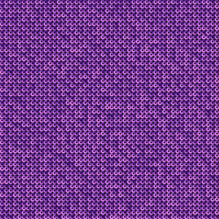 Purple sequins, glitters, sparkles, paillettes, mosaic background template. Abstract luxury halftone vector creative backdrop. Glitter rounds gradient trendy. Vibrant purple shiny dots glitter texture. Ilustracja