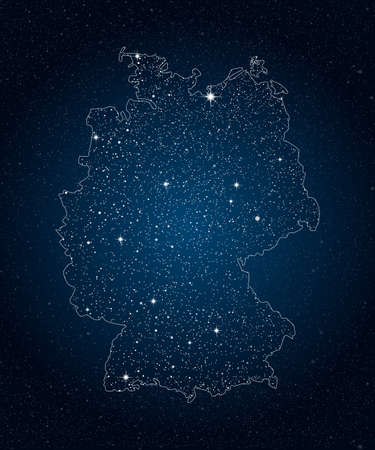 Creative vector Germany country map creative stars isolated on background. Flat state template for travel, trip, pattern, backdrop, celebration poster. National beautiful sign night sky concept. Standard-Bild - 157156758