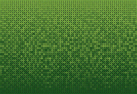 Green sequins, glitters, sparkles, paillettes, mosaic horizontal background template. Abstract halftone vector creative backdrop. Glitter rounds gradient trendy. Vibrant green shiny dots glitter texture