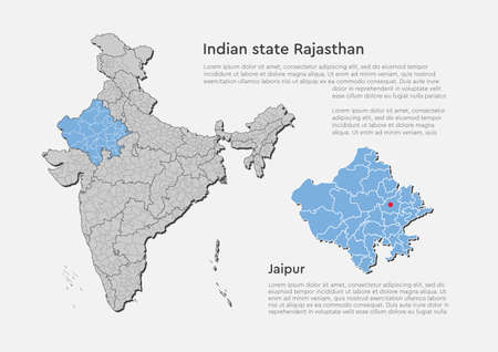 Detailed vector India country outline border map isolated on background. Rajasthan state, region, area, province, territory, department for your report, infographic, backdrop, business concept.