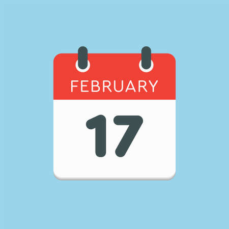 Icon page calendar day - 17 February. 17th days of the month, vector illustration flat style. Date day week Sunday, Monday, Tuesday, Wednesday, Thursday, Friday, Saturday. Winter holidays in February