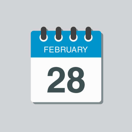 Icon page calendar day - 28 February. 28th days of the month, vector illustration flat style. Date day week Sunday, Monday, Tuesday, Wednesday, Thursday, Friday, Saturday. Winter holidays in February