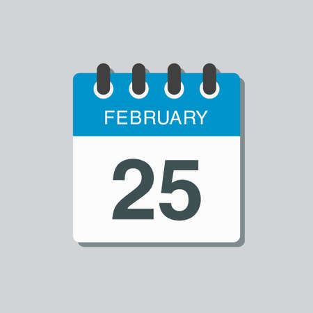 Icon page calendar day - 25 February. 25th days of the month, vector illustration flat style. Date day week Sunday, Monday, Tuesday, Wednesday, Thursday, Friday, Saturday. Winter holidays in February