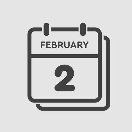Icon page calendar day - 2 February. 2th days of the month, vector illustration flat style. Date day of week Sunday, Monday, Tuesday, Wednesday, Thursday, Friday, Saturday. Winter holidays in February