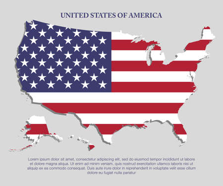 Creative vector United States of America country map create flag isolated on background. Flat state template for trip, pattern, celebration poster. National beautiful points modern sign concept