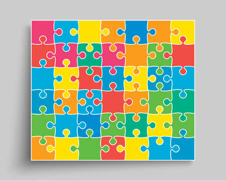 Background made with 42 color pieces puzzle. Vector rectangle banner jigsaw template with particles, details, tiles, parts. Frame pattern for education and presentation with element piece puzzle.