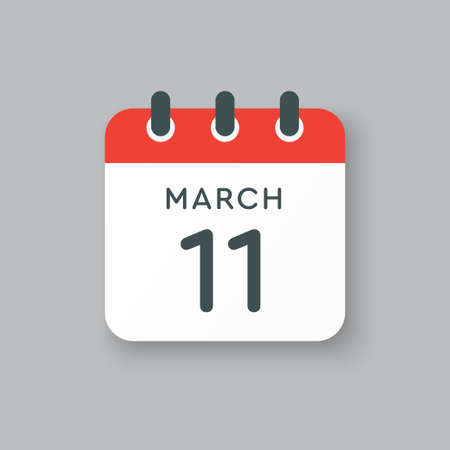 Icon page calendar day - 11 March. 11th days of the month, vector illustration flat style. Date day of week Sunday, Monday, Tuesday, Wednesday, Thursday, Friday, Saturday. Spring holidays in March