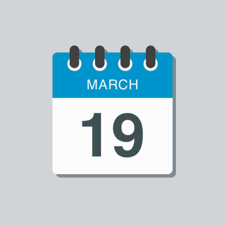 Icon page calendar day - 19 March. 19th days of the month, vector illustration flat style. Date day of week Sunday, Monday, Tuesday, Wednesday, Thursday, Friday, Saturday. Spring holidays in March