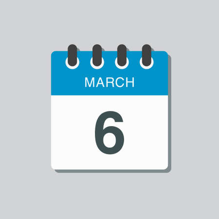 Icon page calendar day - 6 March. 6th days of the month, vector illustration flat style. Date day of week Sunday, Monday, Tuesday, Wednesday, Thursday, Friday, Saturday. Spring holidays in March