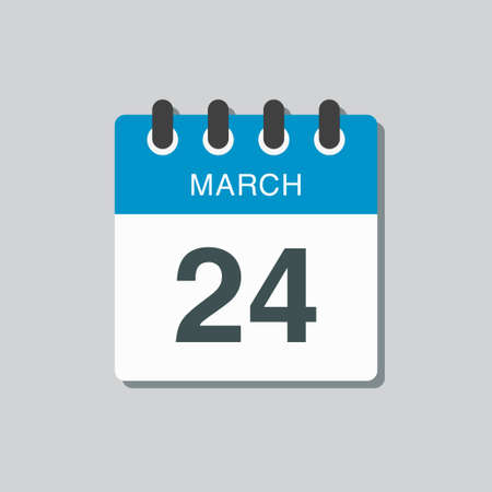 Icon page calendar day - 24 March. 24th days of the month, vector illustration flat style. Date day of week Sunday, Monday, Tuesday, Wednesday, Thursday, Friday, Saturday. Spring holidays in March