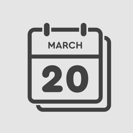 Icon page calendar day - 20 March. 20th days of the month, vector illustration flat style. Date day of week Sunday, Monday, Tuesday, Wednesday, Thursday, Friday, Saturday. Spring holidays in March