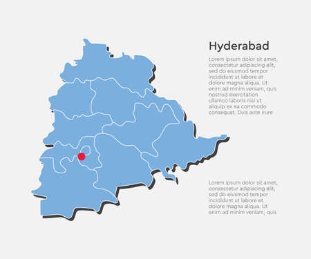 Vector state Telangana country India map with capital Hyderabad isolated on background. Vetores