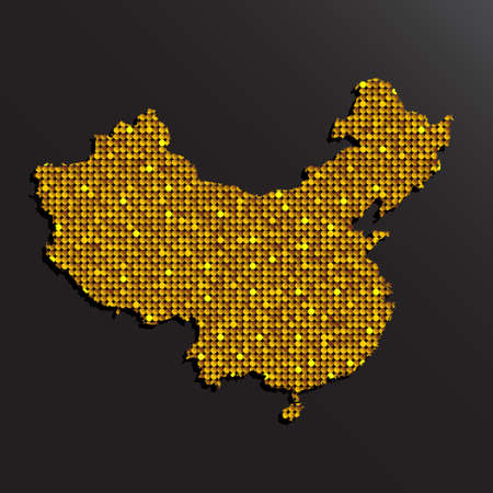 Creative vector China country map made gold sequins isolated on background. Flat state template travel pattern, party poster, backdrop. National golden bright glitter sign concept.