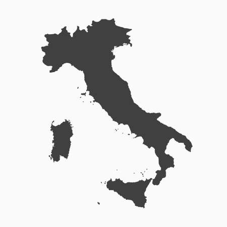 Vector outline border map Italy isolated on background. Europe counrty template, report, infographic, backdrop. Nation pattern or silhouette sign concept