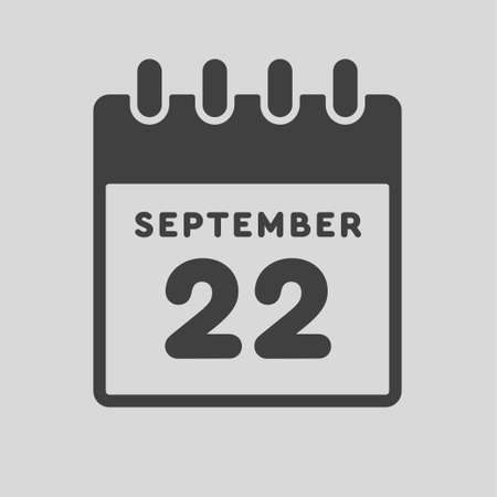 Icon page calendar day - 22 September. Date day week Sunday, Monday, Tuesday, Wednesday, Thursday, Friday, Saturday. 22th days of the month, vector illustration flat style. Autumn holidays in September Vettoriali