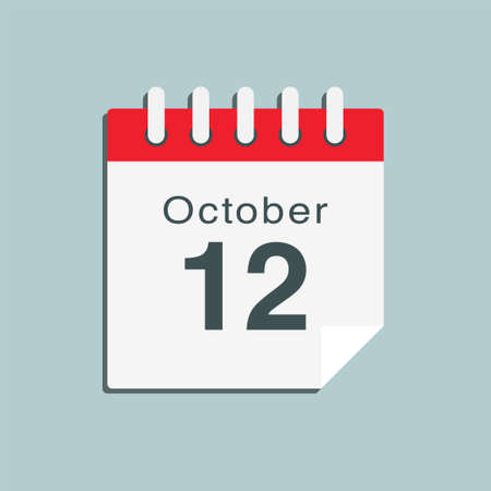 Icon page calendar day - 12 October. Date day week Sunday, Monday, Tuesday, Wednesday, Thursday, Friday, Saturday. 12th days of the month, vector illustration flat style. Autumn holidays in October
